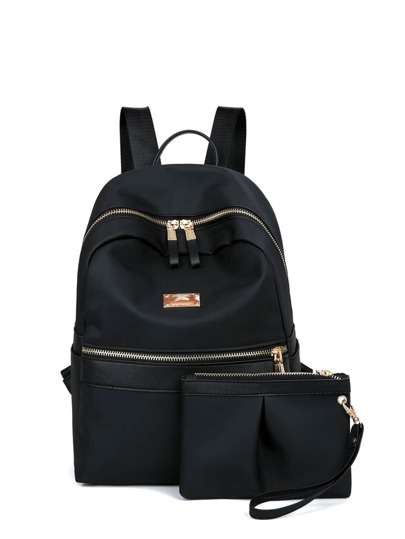 Side Pocket Double Zipper Backpack With Clutch
