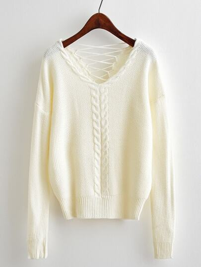 Buy Lace Open Back Cable Knit Sweater sweater171016370