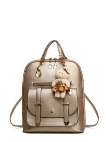 Pocket Front PU Backpack With Bear