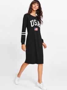 American Flag Print Sweatshirt Dress