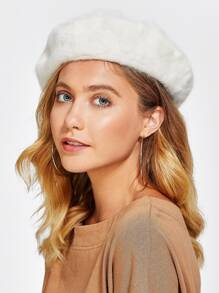 Faux Fur Beret Hat