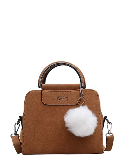 Pom Pom Decorated Shoulder Bag With Handle
