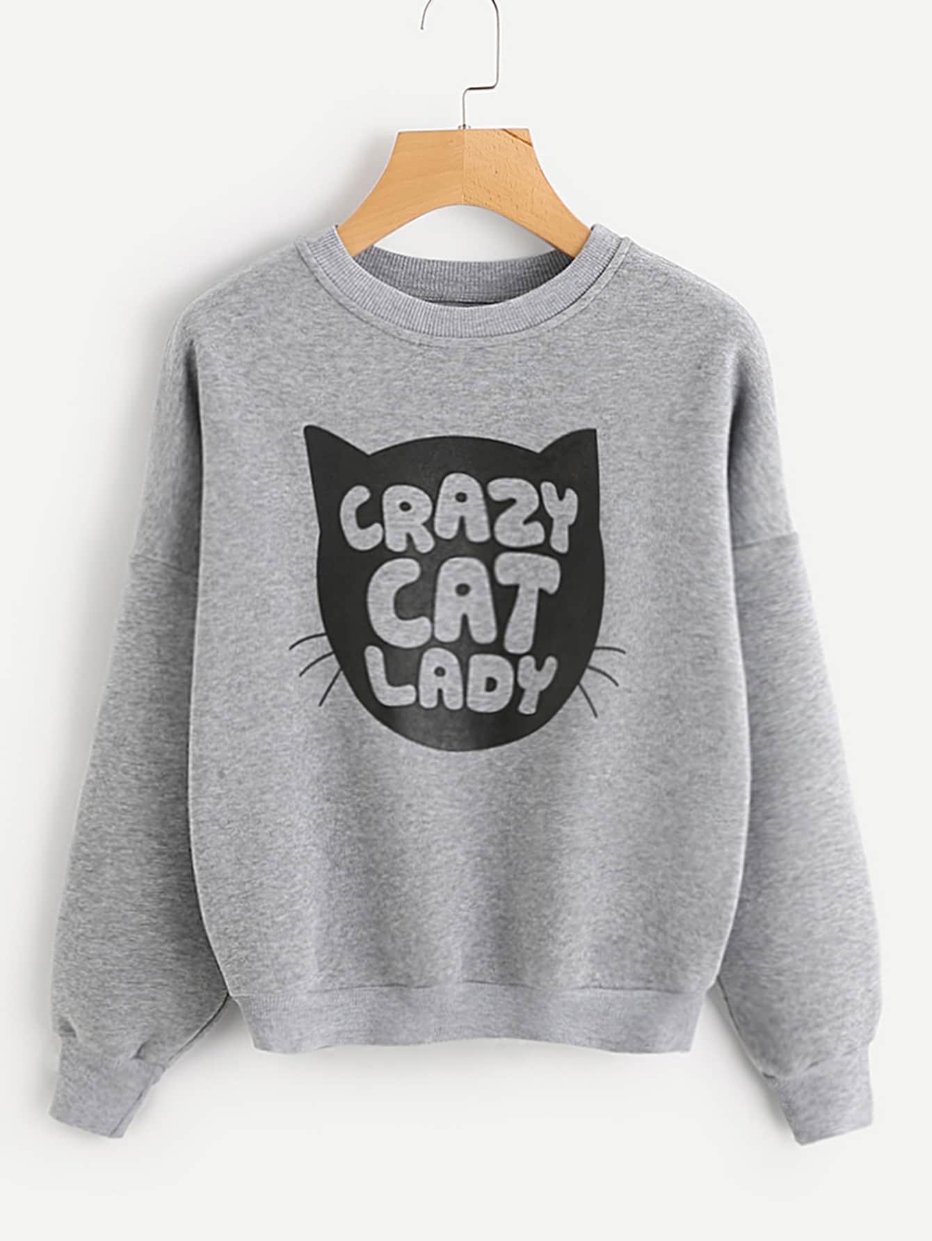 Sweatshirt mit sehr tief angesetzter Schulterpartie und Buchstabenmuster