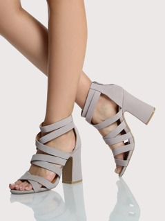 Strappy Ankle Strap Chunky Heels TAUPE