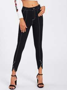 Schmale Jeans mit Stich Detail