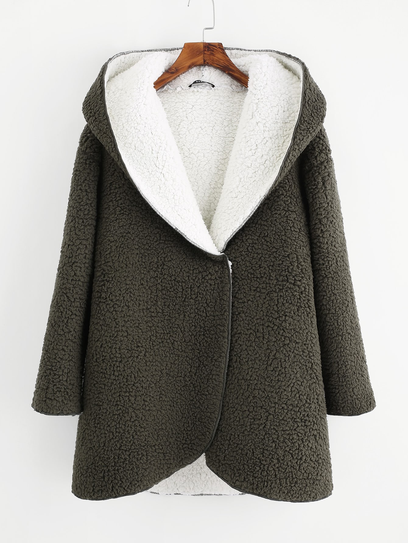 Curved Hem Sherpa Fleece Hoodie Coat