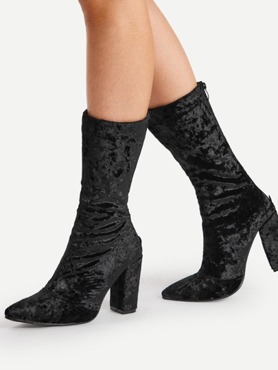 Pointed Toe Velvet Calf Length Boots