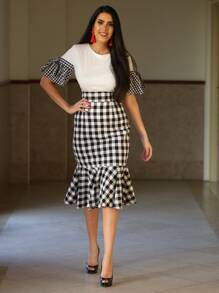 Checkered Fishtail Hem Skirt