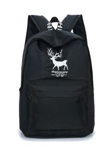 Deer Print Pocket Front Backpack