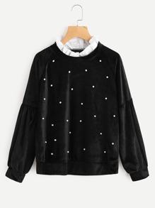 Contrast Neck Pearl Beaded Velvet Sweatshirt