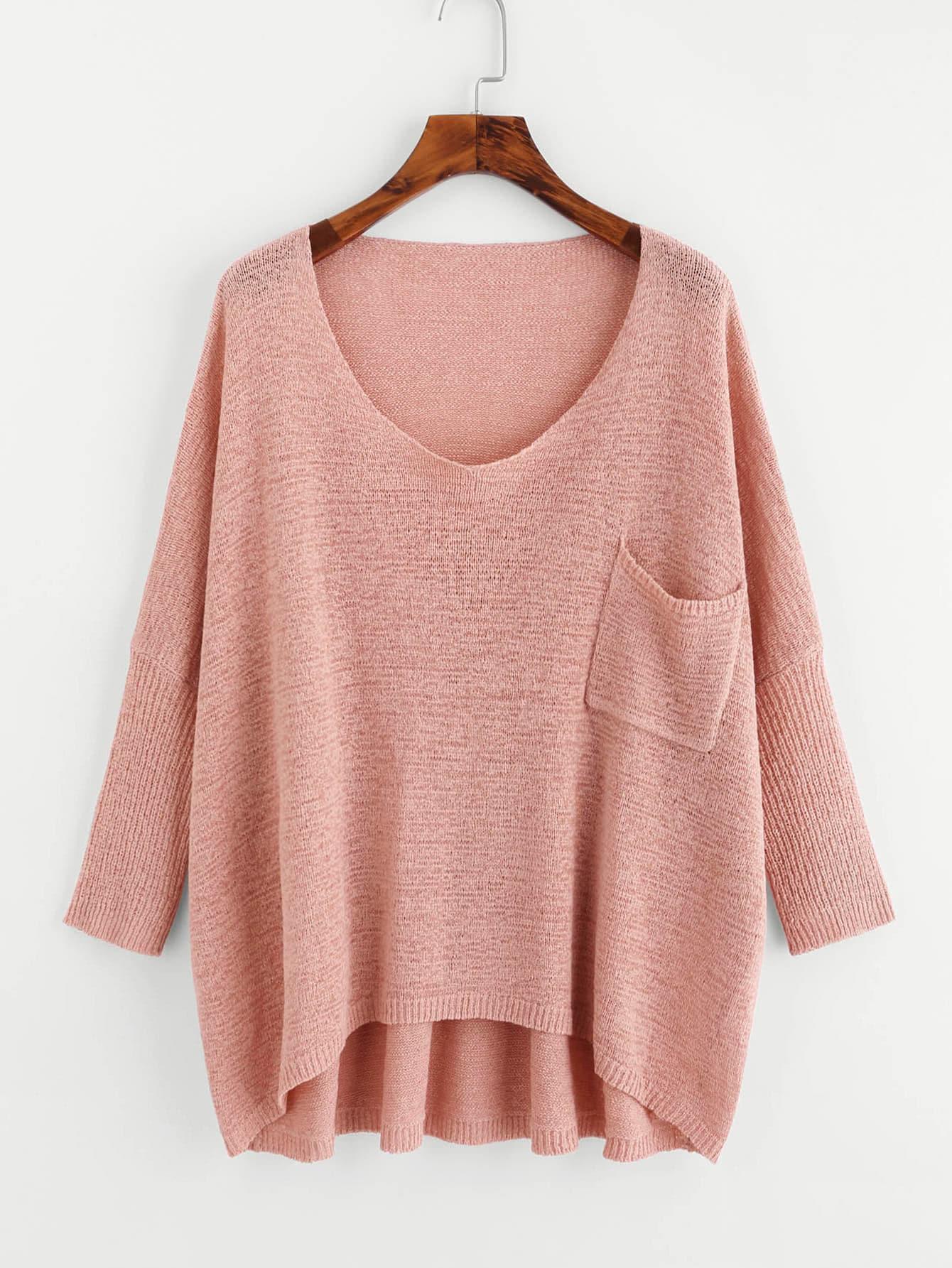 Drop Shoulder Pocket Front Dip Hem Sweater sweater171009455