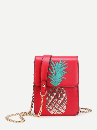 Sequin Pineapple Design Flap Pouch Bag