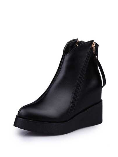 Side Zipper PU Wedge Boots