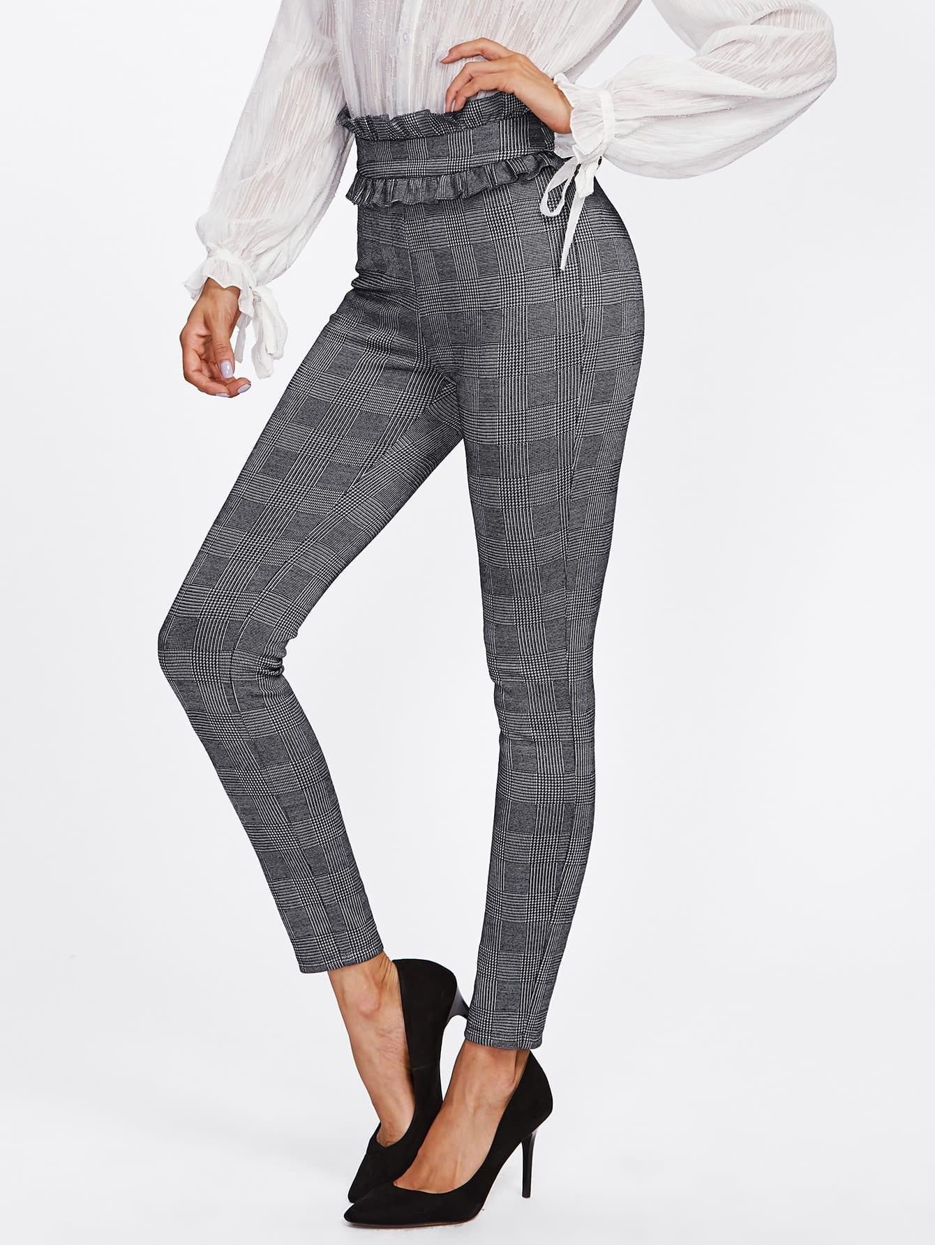 Image of Ruffle Trim Waist Plaid Skinny Pants