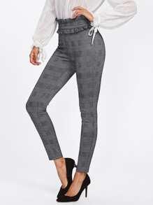 Ruffle Trim Waist Plaid Skinny Pants