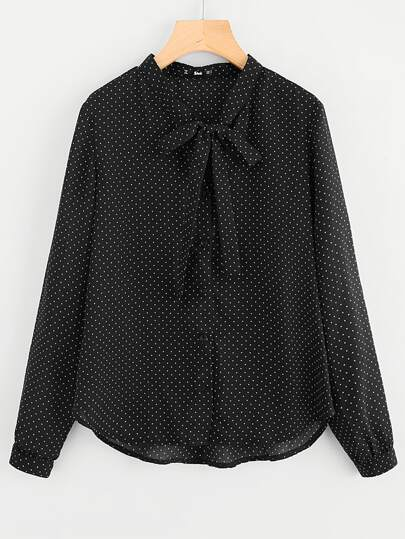 Bow Tied Neck Polka Dot Blouse