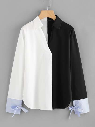 Color Block Contrast Cuff Tie Blouse