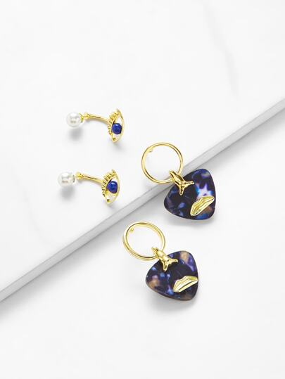 Faux Pearl Contrast Earring Set 2pair