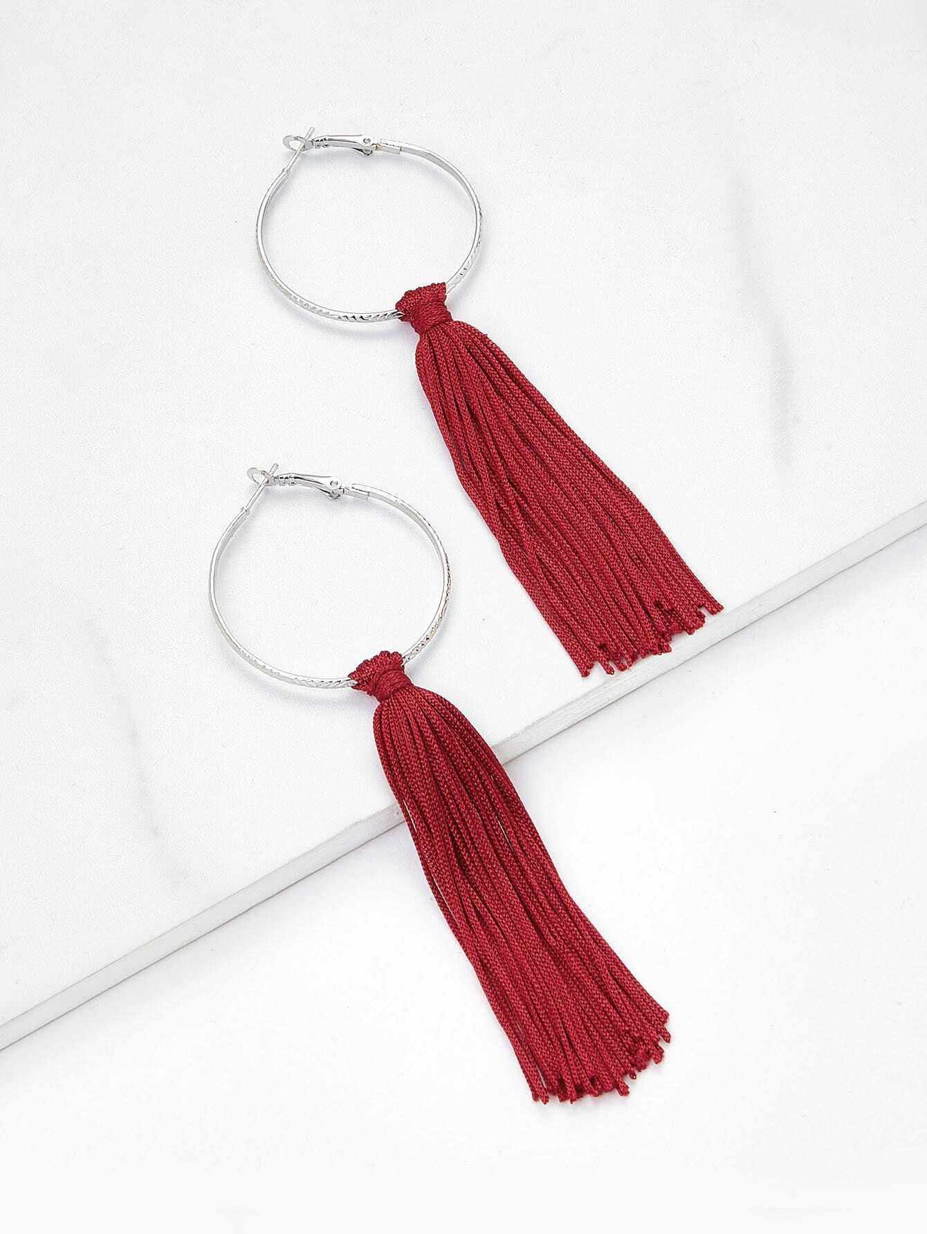 Tassel Hoop Drop Earrings vintage tassel drop hoop earrings
