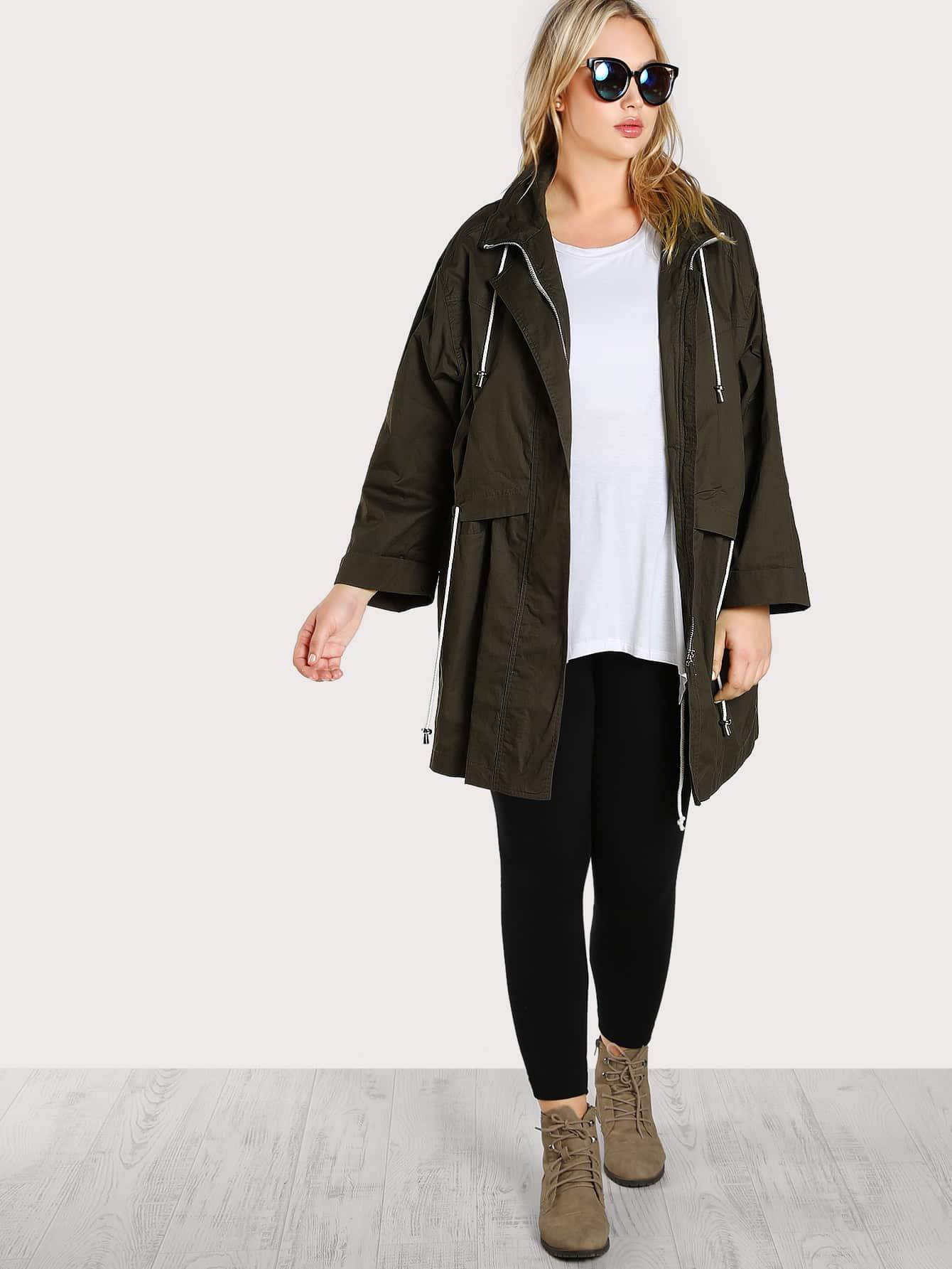 Zip Up Drawstring Jacket fossil sydney patchwork zip clutch