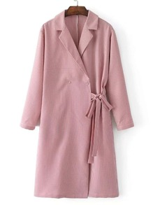 Side Tie Gingham Trench Dress