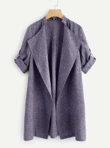 Drape Collar Roll Tab Sleeve Coat
