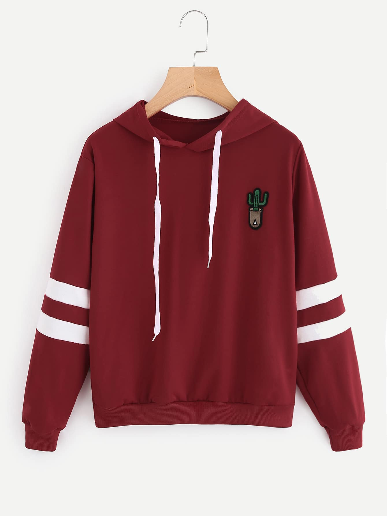 Cactus Embroidered Patch Varsity Striped Hoodie