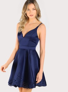 Scallop Laser Cut Double Strap Fit & Flare Dress