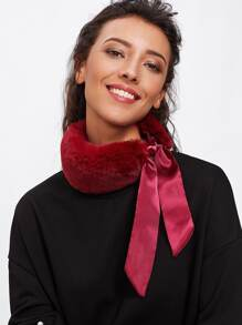 Faux Fur Self Tie Scarf