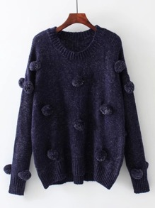 Pom Pom Design Drop Shoulder Jumper Sweater