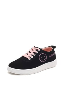 Smiling Face Lace Up Sneakers