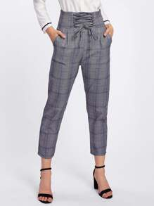 Lace Up Empire Checked Cropped Pants