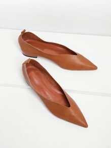 Pointed Toe High Vamp PU Flats