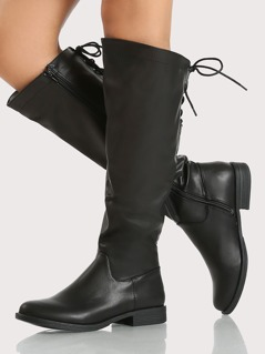 Faux Leather Back Lace Up Boots BLACK