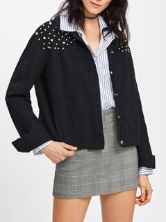 Pearl Beading Patch Pocket Ripped Jacket