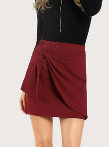 Front Knot Mini Skirt RED