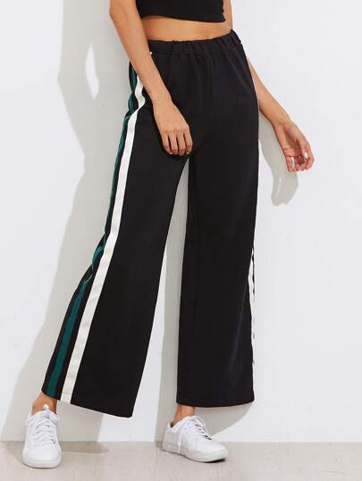 Striped Side Elastic Waist Wide Leg Pants