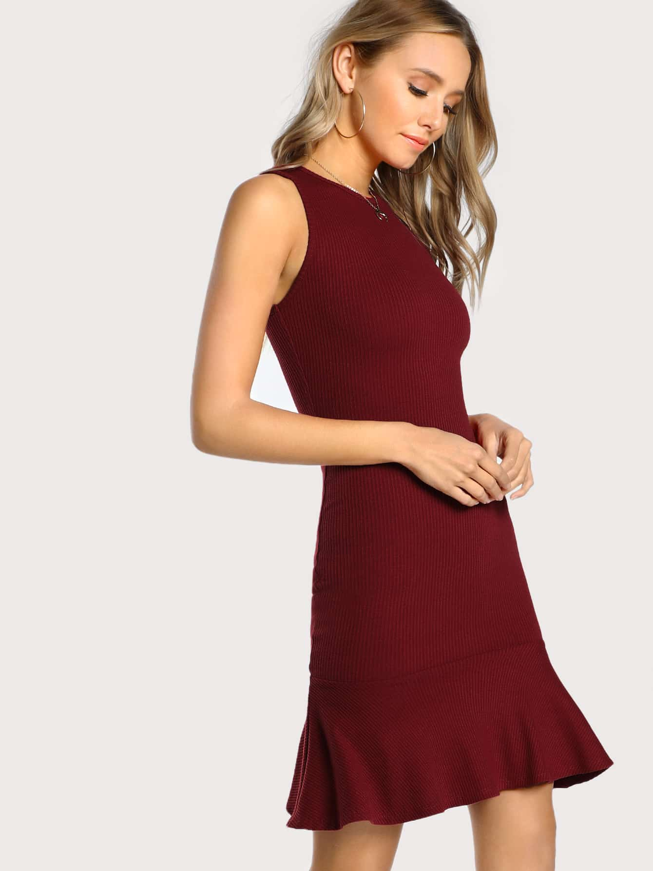 Frill Hem Rib Knit Tank Dress dressmmc171017705