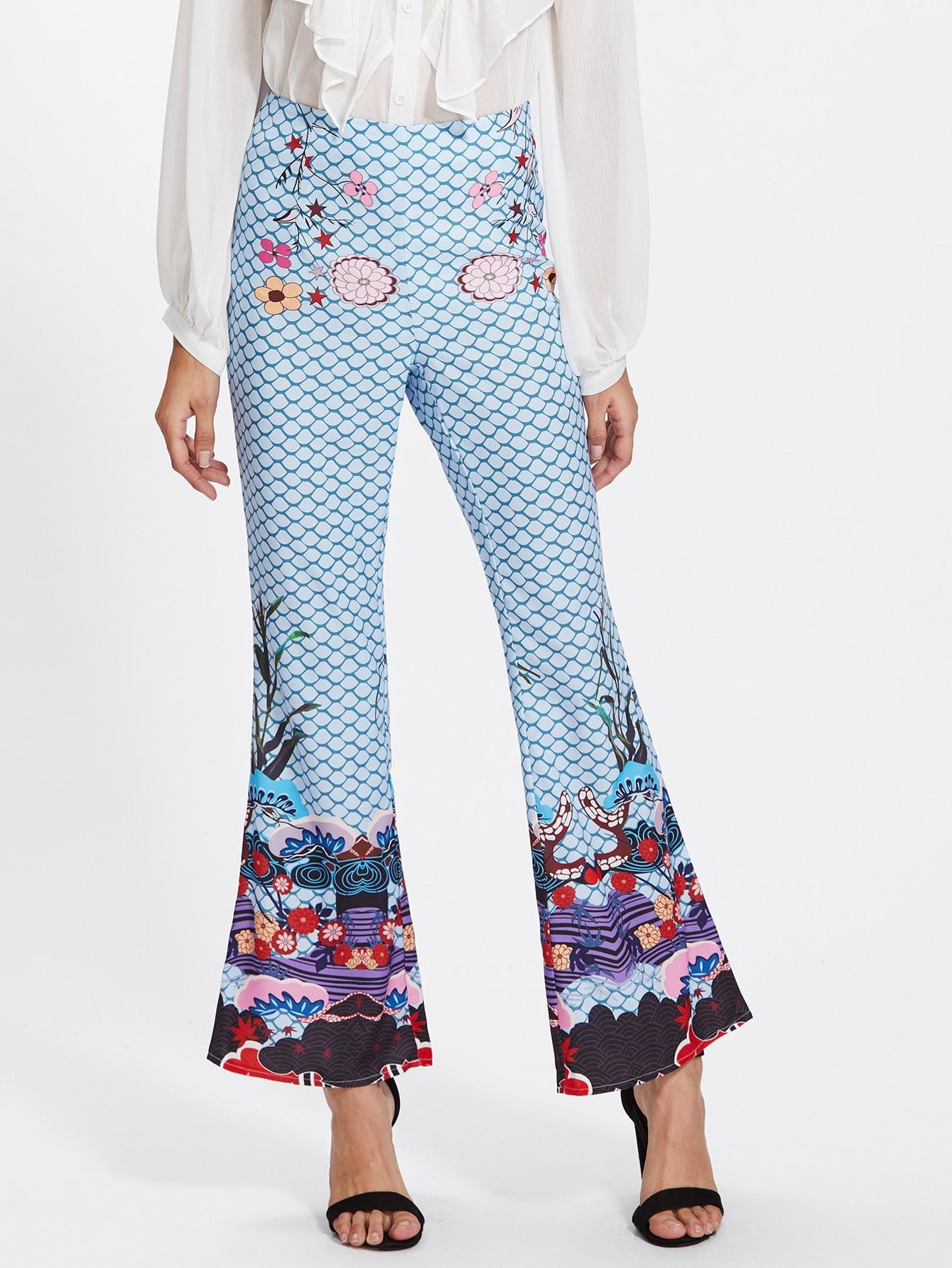 Mixed Print Flared Pants