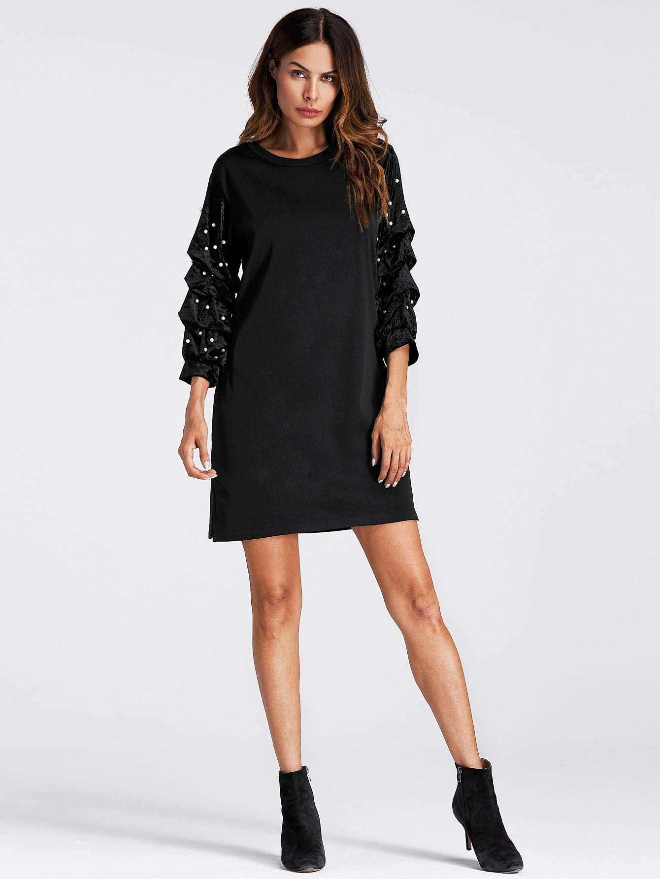 Faux Pearl Detail Dress frill layered pearl detail sweatshirt dress