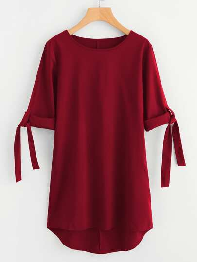 Rolled Sleeve Tie Detail Dip Hem Dress