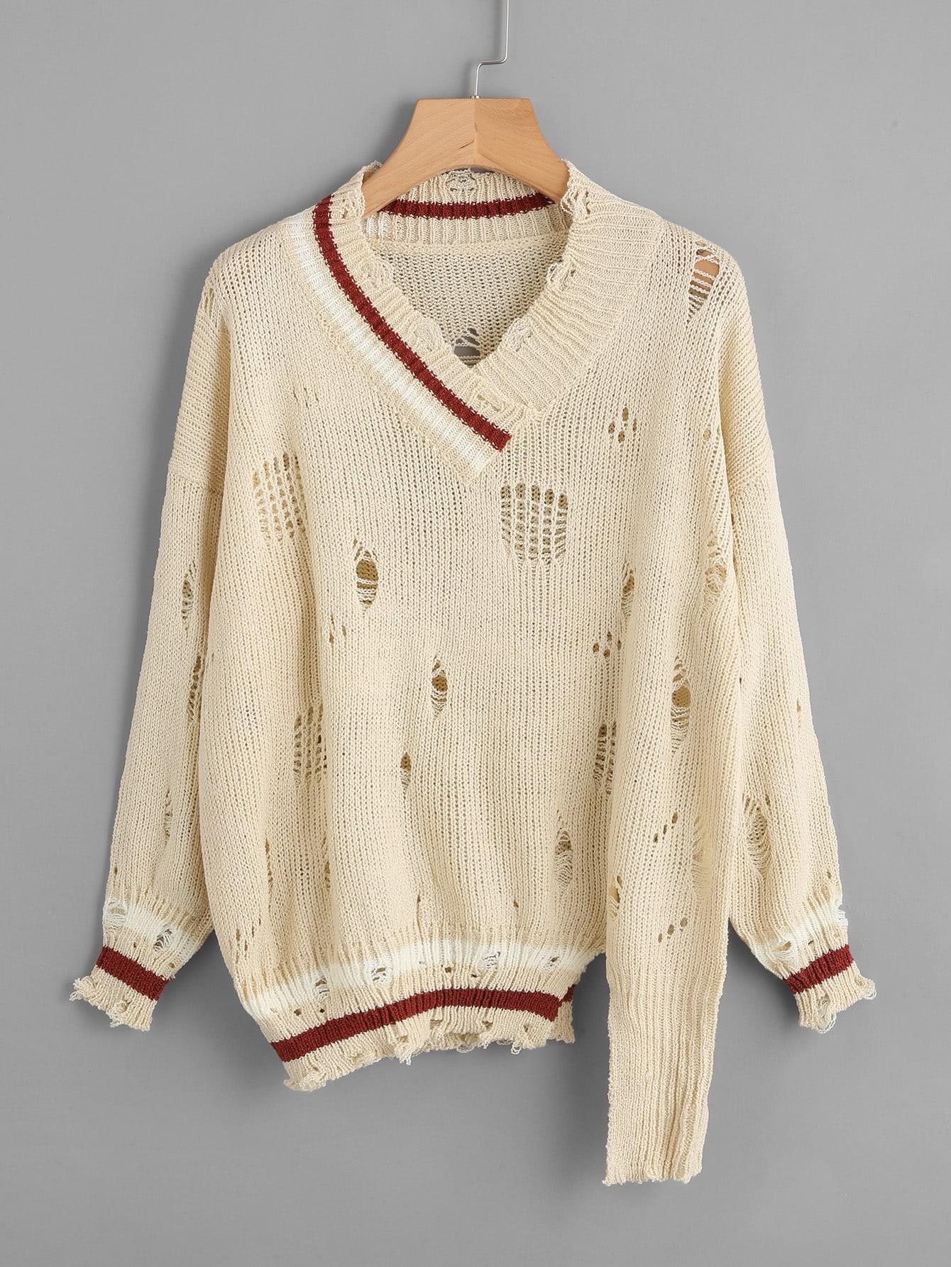 V Neckline Destroyed Striped Trim Sweater sweater170920114