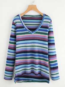 Striped Stepped Hem Tee