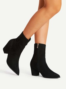 Pointed Toe Block Heeled Boots