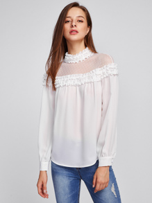 Lace Yoke Frill Detail Blouse