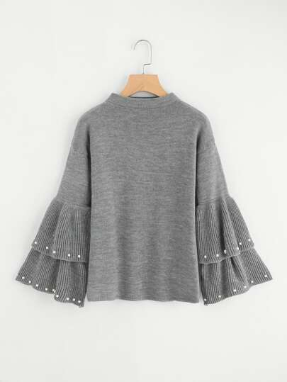 Pearl Beading Tiered Bell Sleeve Jumper
