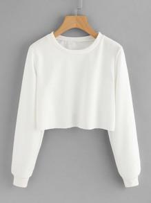 Basic Raw Hem Crop Sweatshirt