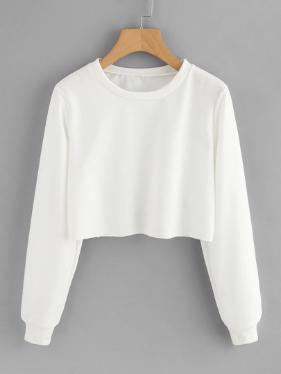 Ungesäumtes Basic Crop Sweatshirt