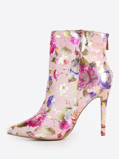 Metallic Print Stiletto Boots BLUSH