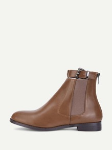 Buckle Detail Ankle Chelsea Boots